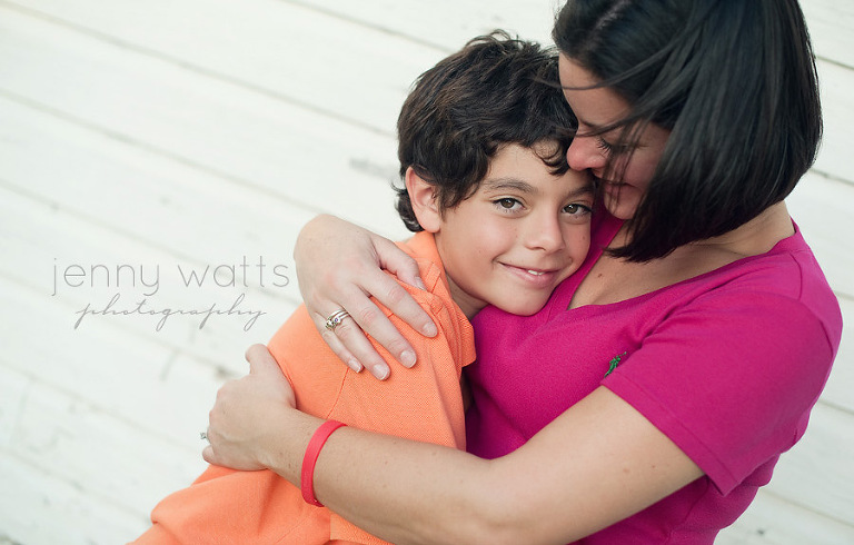 sweet moment of mother and son embracing