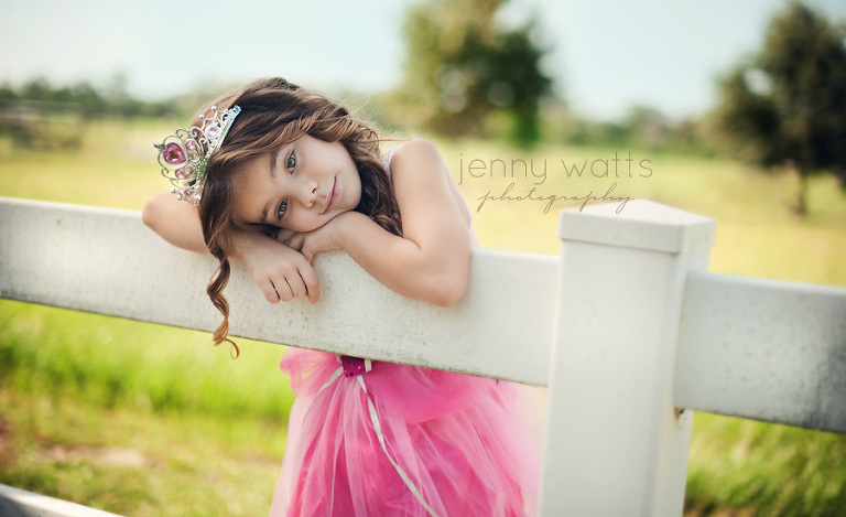 young beautiful girl dresses up as a princess and rests on farm fence