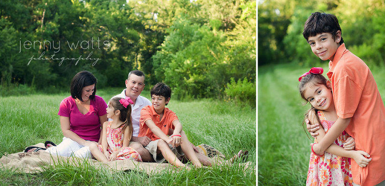family of four sits at sunset and siblings embrace