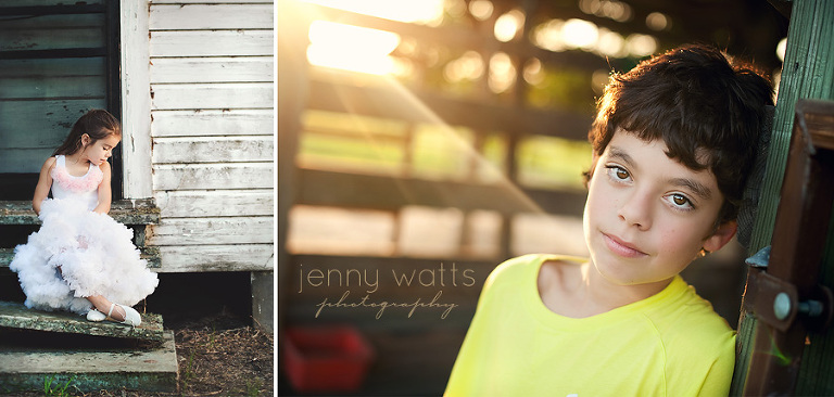 little girl sits on steps of old hom and young boy relaxes at sunset in barn