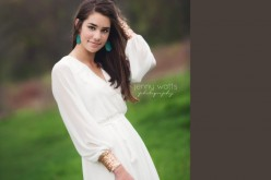 highland park senior in wooded area at